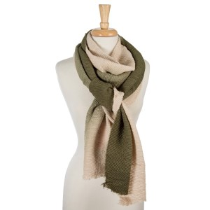"""Accordion pleated, beige and olive green ombre printed, open scarf. 100% acrylic. Measures 23"""" x 85"""" in length."""