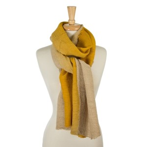"""Accordion pleated, beige and burgundy ombre printed, open scarf. 100% acrylic. Measures 23"""" x 85"""" in length."""