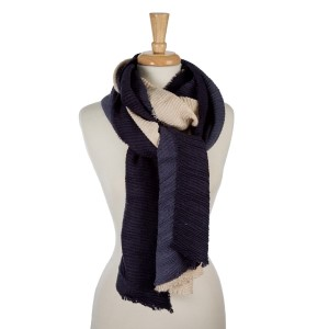 """Accordion pleated, beige and navy blue ombre printed, open scarf. 100% acrylic. Measures 23"""" x 85"""" in length."""