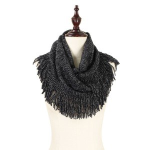 "Knit, infinity scarf with metallic detailing and fringe accents. 100% acrylic. Measures 14"" x 28"" in size."