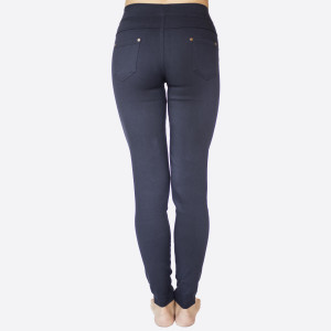"""These 5 pocket, woven super stretch twill skinny pull on pants are a must for the season and will go with anything. Sold in packs of 10, five S/M and five M/L. Approx 30"""" inseam. 60% Cotton, 35% Nylon, 5% Spandex."""