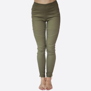 Stretch Moto Leggings Pants with zipper on ankle. Sold in packs of 10. 5-S/M 5-L/XL 60% Cotton, 35% Nylon, 5% Spandex.