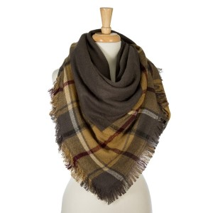 """Two tone, reversible plaid blanket scarf with frayed edges. 100% acrylic. Measures 50"""" x 50"""" in size."""