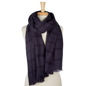 """Navy blue and gray plaid, open scarf with frayed edges. 100% acrylic. Measures 25"""" x 80"""" in size."""