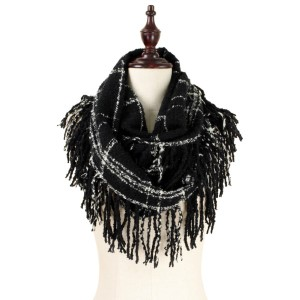 """Heavyweight knit, infinity scarf with a two tone, plaid design and fringe along the sides. 100% acrylic. Measures 13"""" x 33"""" in size."""