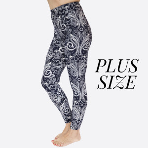 """PLUS SIZE- New Kathy / New Mix printed peach skin leggings are seamless, chic, and a must-have for every wardrobe. These lightweight, full-length leggings have a 1"""" waistband. They are versatile, perfect for layering, and available in many unique prints. 92% Polyester 8% Spandex. One sized, fits US women's 16-20."""
