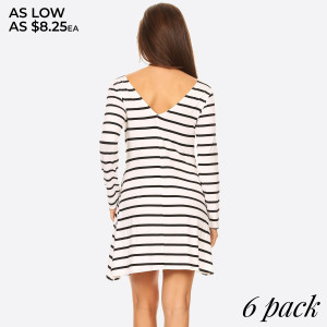 Fit for a queen, yet casual enough for the rest of us, the Long sleeve Stripe Dress With V-Drop on the back packs chic, versatile style into one very chic dress!   • Scoop Neckline  • Long Sleeve  • Side Pockets  • Closure Style: Pullover  • Rayon/Spandex  • Machine wash, lay flat to dry   Content: 95% Rayon, 5% Spandex   Pack Breakdown: 6pcs/pack. 2S: 2M: 2L