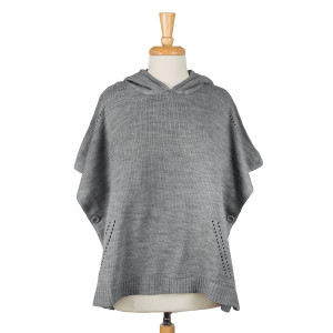 Knit, hooded poncho with two side buttons. 100% acrylic. One size fits most.