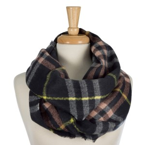"Heavyweight plaid, infinity scarf. 100% acrylic. Measures 20"" x 36"" in size."