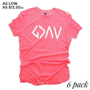 GOD is GREATER than Ups and Downs - Short Sleeve Boutique Graphic Tee. Sold in 6 pack. S:1 M:2 L:2 XL:1 Color: Red 35% Cotton 65% Polyester