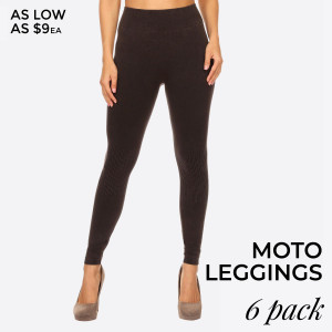 Moto Textured Detail Leggings. Casual yet very stylish! Featuring elastic waist, stretchy fabric, distressed denim print, and finished with a curvy tight fit.   • Long, skinny leg design  • Distressed Denim Print  • Comfortable Elastic Waistband  • Pull-up styling  • Cotton/Polyester  • Machine Wash Warm with similar colors using Gentle Cycle.   Composition: 65% Cotton, 30% Polyester, 5% Spandex  Pack Breakdown: 6pcs/pack. 2SM: 2ML: 2LXL