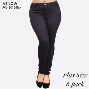 """The Original"" standard 5 pocket plus size jean jegging with classic silhouette construction, is smooth, stretchy, and fits like a glove. Rhinestone pocketing and button embellishment highlights the look and feel. 90% Polyester and 10% Elastane. Sold in packs of six - 4 L/XL and 2 XL/XXL."