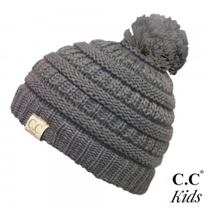 """C.C Kids Exclusive Pom Pom Beanie. 100% acrylic. Measures 7"""" in diameter and 8"""" in length.  Approximate fit: 4 to 7 years of age."""