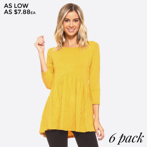 Lightweight, peplum top with three-quarter length sleeves.   • Crew Neck  • 3/4 Sleeves  • Fit & Flare Peplum Silhouette  • Gathered peplum hem  • Swingy  • Soft, Medium-Weight Jersey  • Relaxed Fit Through Body  • Fitted Through the Waist     Content: 95% Rayon 5% Spandex   Pack Breakdown: 6pcs/pack. 2S: 2M: 2L