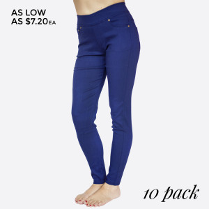 """These Royal Blue 5 pocket, woven super stretch twill skinny pull on pants are a must for the season and will go with anything. Sold in packs of 10, five S/M and five M/L. Approx 30"""" inseam. 60% Cotton, 35% Nylon, 5% Spandex."""
