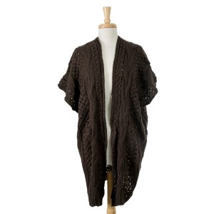Brown, knit, heavyweight kimono/vest. 100% acrylic. One size fits most.