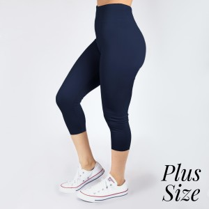 PLUS SIZE - New Kathy / New Mix navy, summer-weight capris are seamless, chic, and a must-have for every wardrobe. These lightweight, interchangeable styles are versatile, perfect for layering, and available in many shades. Smooth fabric, 92% Nylon 8% Spandex. One size, fits US women's 16-20.