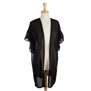 Lightweight, short sleeve kimono with a ruffled sleeve detail. 100% polyester. One size fits most.