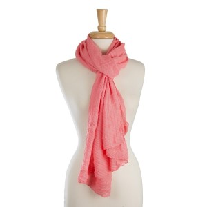 "Lightweight, solid scarf with a ribbed textured. 65% polyester and 35% viscose. Measures 22"" x 80"" in size."