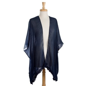 Lightweight kimono with cutouts down the center back. 65% polyester and 35% viscose. One size fits most.