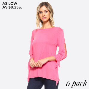 Cut Out Half Sleeve Tie Top. A lightweight, stretch-jersey top that features a stylish slendering sleeve cutout giving a modern point of view to a cool-weather classic.   • Crew Neck  • 3/4 Sleeves w/ Cut Out Detail  • Soft, Light-Weight Jersey  • Relaxed Fit Through Body  • Import   Care: Hand Wash Cold. Tumble Dry. Iron Low. Do not Dry Clean.   Content: 95% Rayon 5% Spandex   Pack Breakdown: 6pcs/pack. 2S: 2M: 2L
