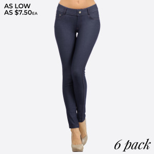 Women's Classic Solid Skinny Jeggings. These jeggings are styled to resemble a pair of jeans. Get both comfort and style!   • Full length jeggings featuring a light sheen and jean-style construction  • Lightweight, breathable cotton-blend material for all day comfort  • Belt loops with 5 functional pockets  • Decorative, non-functional rhinestone button and fly with rivet details  • Super Stretchy  • Pull up Style   Composition: 68% Cotton, 27% Polyester, 5% Spandex  Pack Breakdown: 6pcs/pack. 2S: 2M: 2L