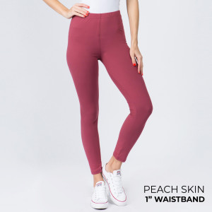 """These New Mix Brand peach skin leggings are seamless, chic, and a must-have for every wardrobe. These lightweight, full-length leggings have a 1"""" waistband. They are versatile, perfect for layering, and available in many colors. 92% Polyester 8% Spandex. One size fits most, fits US women's 0-14."""