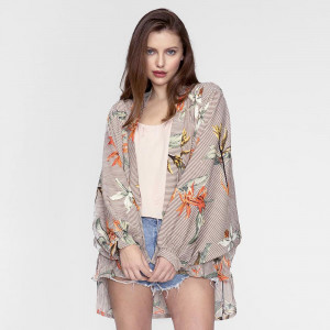Lightweight kimono with a tropical flower print and a stripe design. 100% polyester. One size fits most.