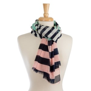 "Lightweight, open scarf with a stripe and floral print. 100% cotton. Measures 21"" x 33"" in size."