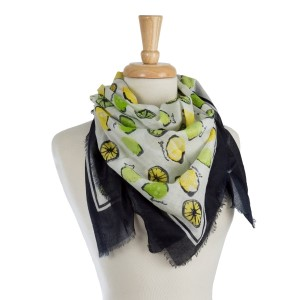 "Lightweight, black, white and yellow lemon printed square scarf. 100% cotton. Measures 42""x 42"" in size."