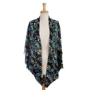 Lightweight, short sleeve, black cocoon kimono with a floral print. 100% viscose. One size fits most.