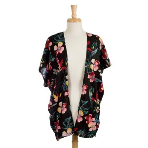 Lightweight, short sleeve, black kimono with a floral print. 100% viscose. One size fits most.