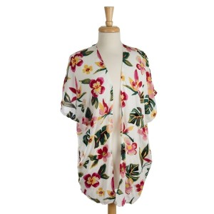Lightweight, short sleeve kimono with a pink, tropical flower print. 100% viscose. One size fits most.