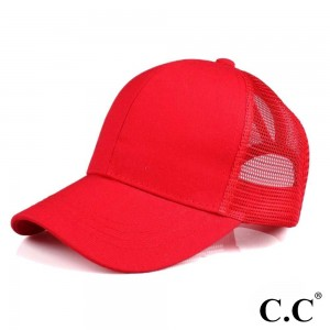 CC Pony Cap BT-4. CC ponytail hat with mesh back. Adjustable velcro back with CC leather logo on back. 60% cotton, 40% polyester.