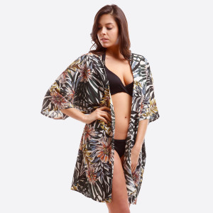 Lightweight kimono with a tropical floral print. 100% polyester. One size fits most.