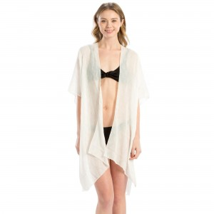 "Lightweight, kimono/swimsuit cover up with ""Mermaid Off Duty"" on the back. 100% viscose. One size fits most."