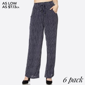 Airy and effortless, these wide leg stripe pants features an elastic waistband with pockets, a drawstring for convenience, billowy wide legs for comfort and style, and a simple, but chic material and silhouette. These are perfect for any weather. 100% polyester. Sold in packs of six - two small, two medium, two large.