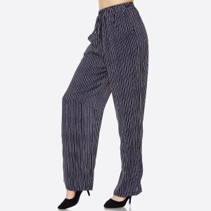 PLUS SIZE: Airy and effortless, these wide leg stripe pants features an elastic waistband with pockets, a drawstring for convenience, billowy wide legs for comfort and style, and a simple, but chic material and silhouette. These are perfect for any weather. 100% polyester. Sold in packs of six - two 1X, two 2X, two 3X.