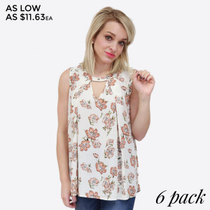 Lightweight tank top with a floral pattern, cutout v-neckline, and a relaxed fit. 100% rayon. Sold in packs of six - two small, two medium, two large.