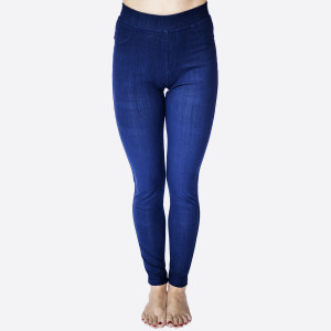 "Premium denim back pocket ankle jeggings made of premium stretch denim material Features back pockets embellished with studs detail. One size fits most plus dress size 16-20. Approx 30"" inseam. 75% Cotton, 17% Polyester, 8% Spandex."