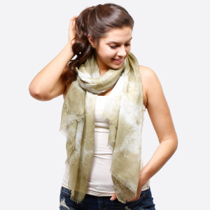 """Lightweight solid scarf with a gold glitter, cactus print. 100% polyester. Measures 27"""" x 70"""" in size."""