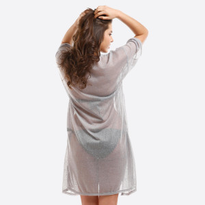 Lightweight, short sleeve kimono with side slits. 100% polyester. One size fits most.