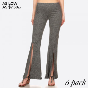 Women's Flare Pants With Front Opening Slits. Solid, Poly Brushed Flare Palazzo Pants in Fitted Style with Banded Elastic Waist, Wide Leg with Front Leg Slits.  SIZE:S-M-L-XL (1-2-2-1)  PACKAGE:6PCS/PREPACK 92% POLYESTER 8%SPANDEX MADE IN CHINA