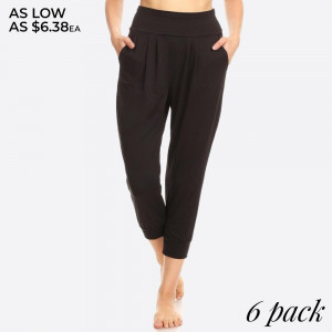 Women's Poly Brushed Cropped Harem Loose Fit Joggers. Super Soft Brushed, Solid Loose Fit Cropped Harem Joggers Pants with Side Pockets.    SIZE:S-M-L-XL(1-2-2-1) PACKAGE:6PCS/PREPACK 92%POLYESTER  8%SPANDEX  SPACE DYE:96%POLYESTER  4%SPANDEX MADE IN CHINA