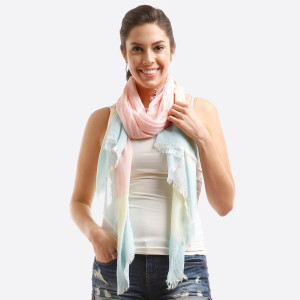 """Lightweight, open scarf with a two tone design. 20% modal and 80% viscose. Measures 30"""" x 70"""" in size."""