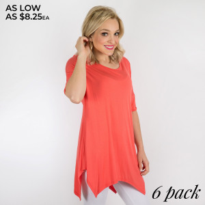 Modal A-Line Sharkbite Hem Piko Sleeve Tunic Top This top is a must have, period. Bring it to the beach, take it on the road, or wear it all lazy weekend. It's made in soft rayon modal and features an A line sharkbite hem, scoop neck and slouchy silhouette. Team it with print leggings or skinny pants. Pack Breakdown: 1S, 3M, 2L 95% modal/rayon, 5% spandex