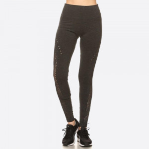 KNIT, FULL LENGTH, HIGH WAISTED LEGGINGS IN A FITTED STYLE WITH A WAISTBAND AND PERFORATED CUTOUT DESIGN ON THE SIDES.  SIZE: S/M-L/XL (3-3) PACKAGE:6PCS/PREPACK 61% VISCOSE 34% POLYESTER 5% SPANDEX