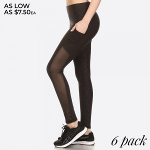 EMBOSSED PRINT, HIGH WAISTED LEGGINGS IN A FIT STYLE, WITH AN ELASTIC WAISTBAND, AND MESH SIDE POCKET PANELS.  SIZE:S-M-L-XL (1-2-2-1) PACKAGE:6PCS/PREPACK 94%POLYESTER 6%SPANDEX MESH:90%POLYESTER 10%SPANDEX
