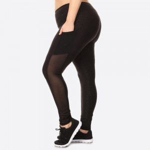 PLUS SIZE EMBOSSED PRINT, HIGH WAISTED LEGGINGS IN A FIT STYLE, WITH AN ELASTIC WAISTBAND, AND MESH SIDE POCKET PANELS.   SIZE:1X-2X-3X(2-2-2) PACKAGE:6PCS/PREPACK 94%POLYESTER, 6%SPANDEX MESH:90%POLYESTER,10%SPANDEX