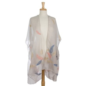 Lightweight kimono with a feather embroidery print. 80% polyester and 20% viscose. One size fits most.